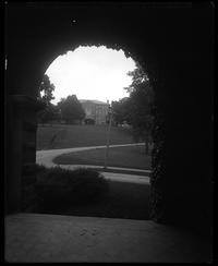 View of Lathrop Hall seen through an archway in James B. Colgate Hall